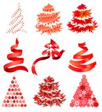 Collecton of stylized Christmas trees Royalty Free Stock Photo