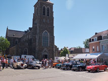 Collector's meeting of classic cars and motorbikes. LEMBEEK, BELGIUM - MAY 27: Collector's meeting of classic cars and motorbikes. The exhibition « royalty free stock photo