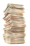 Collector cards. A piled up tall stack of collector's playing cards Royalty Free Stock Images
