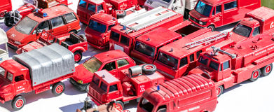Collector display for metallic firefighter truck specialists at garage sale Stock Photo