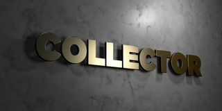 Collector - Gold text on black background - 3D rendered royalty free stock picture Royalty Free Stock Photo