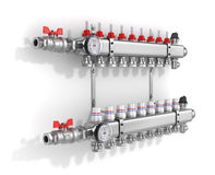 Collector, manifold, heating system Stock Image
