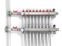 Collector, manifold,. Heating system for underfloor heating Stock Photo