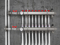 Collector, manifold, heating system for underfloor heating Royalty Free Stock Images