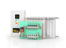 Collector, manifold, heating system for underfloor heating. 3d illustration Royalty Free Stock Images