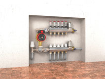 Collector, manifold. Collector, manifold, heating system for underfloor heating in the wall. 3d illustration Royalty Free Stock Image