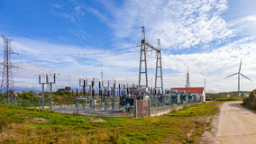 Collector Substation for a wind farm Royalty Free Stock Photo