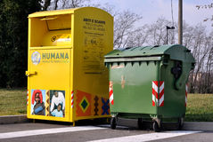 Charity bin in Italy Stock Images