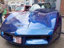 Collectoren het ontmoeten van klassieke auto's en spierauto's De Pijlstaartrog van Chevrolet Corevette Stock Foto's