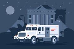 Collectors auto naast de bank onder het mom van nacht stock illustratie