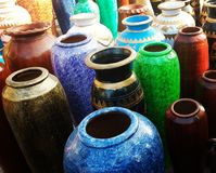 Collectors of colours. Several clay made collectors Royalty Free Stock Photography