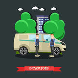 Collectors concept vector illustration in flat style. Vector illustration of collectors standing next to armored bank car. Transportation of valuables Royalty Free Stock Photography