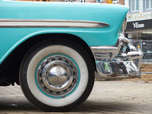 Collectors meeting of classic cars and muscle cars. Blue classic car wheel. Stock Photos