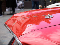 Collectors meeting of classic cars and muscle cars. Lid fixing. Royalty Free Stock Images