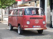 Collectors meeting of classic cars and muscle cars. Red Volkswagen combi. Royalty Free Stock Image