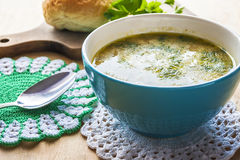 Colled cold soup vegetable calafior dill wooden royalty free stock photo