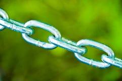 Collegamenti Chain su verde Fotografia Stock