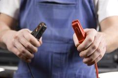 Collegamenti del cavo di batteria Fotografie Stock Libere da Diritti