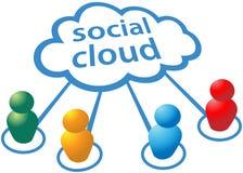 Collegamenti di calcolo della gente della nube sociale di media Fotografia Stock