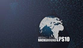 Collegamenti di rete globale con i punti e le linee Fondo astratto geometrico di Digital Immagini Stock