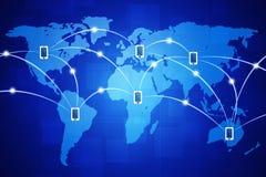 Collegamenti mobili globali Fotografie Stock