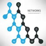 Collegamenti - neri e concetto di progetto blu della rete digitale con la disposizione collegata delle icone - illustrazione del  Immagine Stock Libera da Diritti