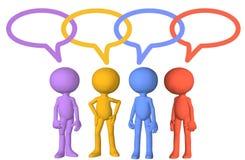 Collegamenti sociali della bolla di discorso di colloquio dei caratteri di media Fotografia Stock Libera da Diritti