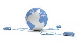 Collegamento del mondo in azzurro Immagine Stock