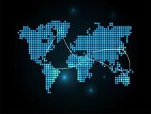 Collegamento della mappa di mondo Fotografie Stock