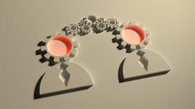 Collegamento di modello umano siluette del profilo 3D Fotografia Stock Libera da Diritti
