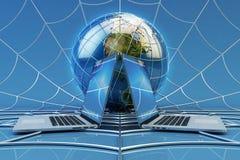 Collegamento di rete di computer globale, comunicazione online e concetto di tecnologia di Internet fotografia stock