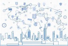 Collegamento di rete internet di Media Communication del sociale sopra paesaggio urbano di vista del grattacielo della città e ma Immagine Stock Libera da Diritti