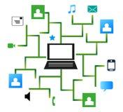 Collegamento di rete sociale da un computer portatile Fotografie Stock