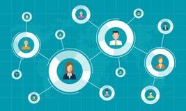 Collegamento di rete sociale per il concetto online del fondo di affari illustrazione di stock