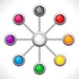 Collegamento Dots Colorful Circles illustrazione di stock