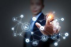 Collegamento e rete sociali rappresentazione 3d Immagine Stock