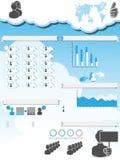 Collegamento infographic di calcolo della gente del fondo della nuvola Fotografie Stock Libere da Diritti