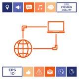Collegamento a Internet, dello scambio dei dati, icona di concetto di trasferimento Fotografia Stock