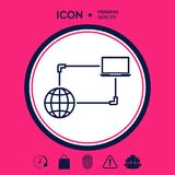 Collegamento a Internet, dello scambio dei dati, icona di concetto di trasferimento Immagine Stock