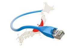 Collegamento a Internet nel concetto del Giappone rappresentazione 3d Fotografia Stock