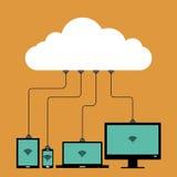 Collegamento multiplo della nuvola Immagini Stock