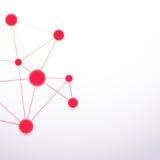 Collegamento rosso dell'estratto delle cellule della molecola di ciao-tecnologia Fotografie Stock