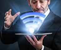 Collegamento senza fili ad alta velocità Li-Fi Fotografia Stock