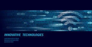 Collegamento senza fili di wifi di Internet Grandi numeri di flusso di codice binario di dati Collegamento ad alta velocità dell' illustrazione vettoriale