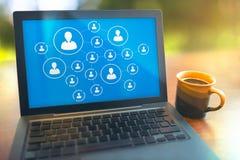 Collegamento sociale di media Immagine Stock