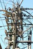 Collegare di elettricità su un palo Immagine Stock Libera da Diritti