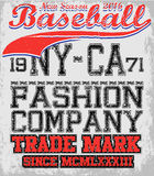 College baseball team badge in retro style. Graphic design for t Royalty Free Stock Image