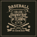 College baseball team emblem. Graphic design for t-shirt. Print on a dark background Royalty Free Stock Image