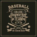 College baseball team emblem Royalty Free Stock Image