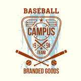 College baseball team emblem. Graphic design for t-shirt. Print on a light background Royalty Free Stock Photography